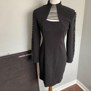 Vintage Caché Black Ladder Cutout High Neck Dress